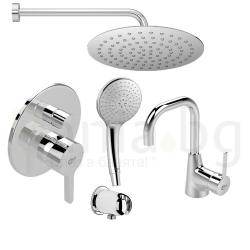 Комплект за вграждане IDEAL STANDARD Ideal Style с ултратънка душ пита Idealrain Luxe 200 mm, ръчен душ Idealrain 120 mm с 3 функции и смесител за мивка, висок