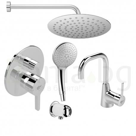 Комплект за вграждане IDEAL STANDARD Ideal Style с ултратънка душ пита 200 mm, ръчен душ 120 mm с 3 функции и смесител за мивка