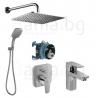Комплект за вграждане IDEAL STANDARD Ceraplan III с квардатна душ пита 200 mm, ръчен душ 120 mm с 3 функции и смесител за мивка