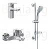 Комплект за баня IDEAL STANDARD Ceraflex 3в1, смесители за мивка Grande, за вана, тръбно окачване с ръчен душ IdealRain Cube