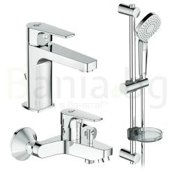 Комплект за баня IDEAL STANDARD Esla 3в1, смесители за мивка и за вана, тръбно окачване с ръчен душ IdealRain Evo с 3 функции