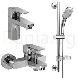 Комплект за баня IDEAL STANDARD Ceraplan III 3в1, смесители за мивка и за вана, тръбно окачване с ръчен душ IdealRain Cube