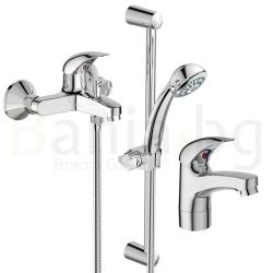 Комплект за баня IDEAL STANDARD VIDIMA Orion BC820AA, смесители за мивка и за вана/душ, с чучур и тръбно окачване с ръчен душ