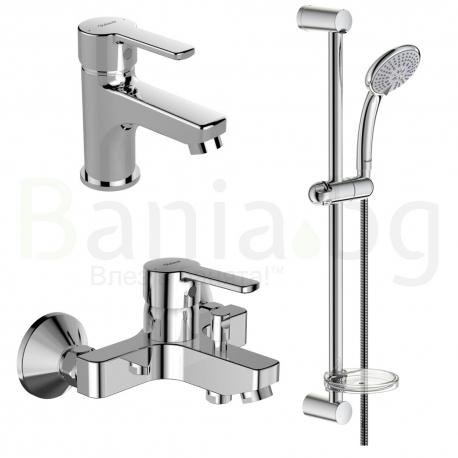 Комплект VIDIMA Calista B1435AA, смесители за мивка и за вана/душ, тръбно окачване VidimaFresh М3 с ръчен душ с 3 функции