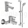 Комплект за баня IDEAL STANDARD VIDIMA Calista B1435AA, смесители за мивка и за вана и душ, с чучур, тръбно окачване VidimaFresh М3 с ръчен душ с 3 функции