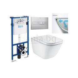 Комплект ROCA THE GAP Rimless, тоалетна чиния без ринг, със скрито присъединяване, капак със забавено падане, структура ROCA и бутон по избор