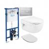 Комплект ROCA MERIDIAN, тоалетна чиния, капак със забавено падане, структура и бутон ROCA