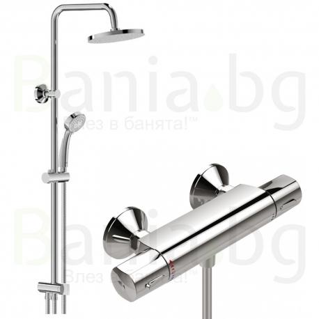 Комплект за баня VIDIMA V-Style 1, термостатен смесител за душ, без чучур ,A5527AA и душ система VidimaBalance, BA274AA