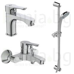 Комплект за баня IDEAL STANDARD Alpha 3в1, смесители за мивка и за вана и душ, тръбно окачване с ръчен душ Ideal Stream с 3 функ