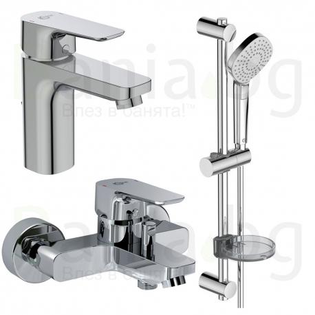 Комплект за баня IDEAL STANDARD Ceraplan III 3в1, смесители за мивка и за вана, тръбно окачване с ръчен душ IdealRain Evo