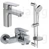 Комплект за баня IDEAL STANDARD Ceraplan III 3в1, смесители за мивка и за вана и душ, тръбно окачване с ръчен душ IdealRain Evo с 3 функции