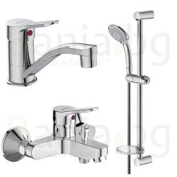 Комплект за баня IDEAL STANDARD VIDIMA Scorpio BD007AA, смесители за мивка и за вана и душ, с чучур, тръбно окачване VidimaFresh