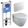 Комплект IDEAL STANDARD Connect, тоалетна чиния, капак със забавено падане, структура за вграждане PROSYS 120М с пневматичен бутон OLEAS P3