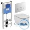 Комплект IDEAL STANDARD Tesi AquaBlade, тоалетна чиния, капак по избор, структура за вграждане PROSYS 120 М с пневматичен бутон OLEAS P3