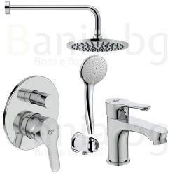 Комплект за вграждане IDEAL STANDARD Alpha, смесител за вграждане, стенно рамо с душ пита 200 мм, с ръчен душ с 3 функции и смесител за мивка Alpha