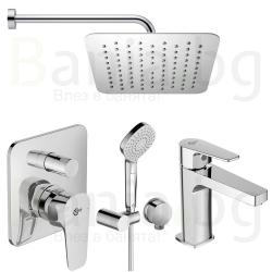 Комплект за вграждане IDEAL STANDARD Esla, смесител за вграждане, стенно рамо с душ пита 200 мм, с ръчен душ с 3 функции и смесител за мивка Esla