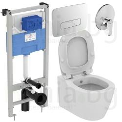 Комплект IDEAL STANDARD Connect E7721, тоалетна чиния с биде, със скрито присъединяване, капак по избор, структура за вграждане