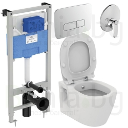 Комплект IDEAL STANDARD Connect E7719, тоалетна чиния с биде, капак по избор, структура за вграждане PROSYS 120М с пневматичен б
