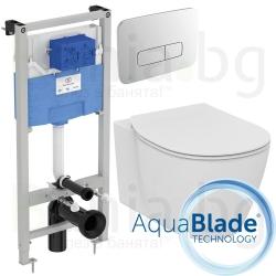 Комплект IDEAL STANDARD Tesi AquaBlade, тоалетна чиния, капак по избор, структура за вграждане PROSYS 120 М с пневматичен бутон