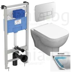Комплект структура за вграждане IDEAL STANDARD PROSYS 120 М с пневматичен бутон OLEAS P3 и тоалетна чиния ROCA FAYANS EMILIA Rim