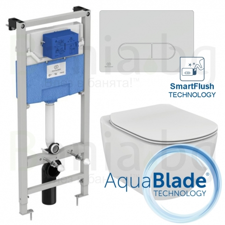 Комплект IDEAL STANDARD Tesi AquaBlade SmartFlush, тоалетна чиния, капак по избор, структура за вграждане PROSYS 120