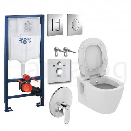 Комплект GROHE 4v1/IDEAL STANDARD Connect, тоалетна чиния с биде, с капак, структура за вграждане GROHE с бутон по избор