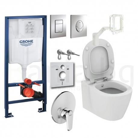 Комплект GROHE 5v1/IDEAL STANDARD Connect, тоалетна чиния с биде, със скрито присъединяване, капак, структура GROHE с бутон