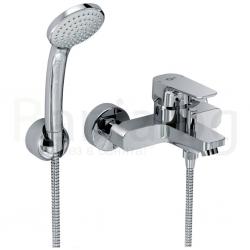 Смесител за вана IDEAL STANDARD Ceraplan III, с чучур, стенен, комплект с ръчен душ, неподвижен държач и шлаух 1500 мм, B0719AA