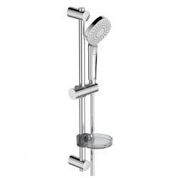 Комплект за душ IDEAL STANDARD VIDIMA Idealrain Evo Diamond, ръчен душ 115 мм с 3 функции, с тръбно окачване 600 мм и шлаух, хром, B2621AA