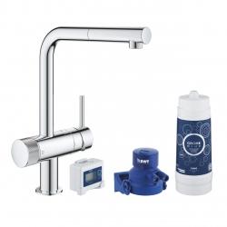 Система за пречистване на питейна вода GROHE Blue Pure Minta Duo, за кухня, стартов пакет, смесител с изтеглящ се чучур и филтър за вода 3000 l, 30382000