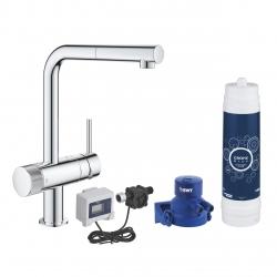 Система за пречистване на питейна вода GROHE Blue Pure Minta Duo, за кухня, стартов пакет, смесител с изтеглящ се чучур и филтър за вода 3000 l, разходомер, 30393000