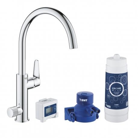 Система за пречистване на питейна вода GROHE Blue Pure BauCurve, за кухня, стартов пакет, смесител и филтър за вода 3000 l, 3038