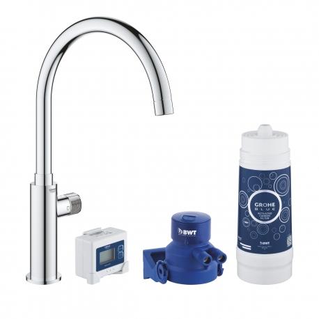 Система за пречистване на питейна вода GROHE Blue Pure Mono, за кухня, стартов пакет, батерия за филтрирана вода и филтър за вод