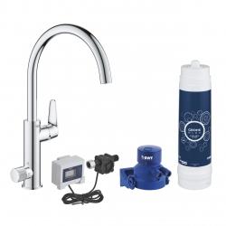 Система за пречистване на питейна вода GROHE Blue Pure BauCurve, за кухня, стартов пакет, смесител и филтър за вода 3000 l, разходомер, 30386000