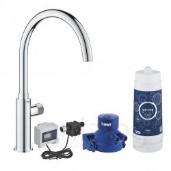 Система за пречистване на питейна вода GROHE Blue Pure Mono, за кухня, стартов пакет, батерия за филтрирана вода и филтър за вода 3000 l, разходомер, 30388000
