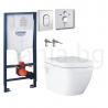 Комплект GROHE SOLIDO 39702000, тоалетна чиния EURO CERAMIC Rimless с капак със забавено падане, структура за вграждане GROHE с
