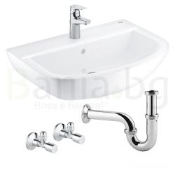 Комплект GROHE Bau Ceramic BauFlow,  смесител за мивка и мивка за баня 60см с крепежни елементи, кранчета и сифон, 39644000