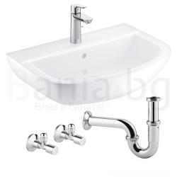 Комплект GROHE Bau Ceramic BauEdge,  смесител за мивка и мивка за баня 55 см с крепежни елементи, кранчета и сифон, 39643000