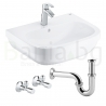 Комплект GROHE Bau Ceramic Eurosmart, смесител за мивка и мивка за баня 60см с крепежни елементи, кранчета и сифон, 39641000