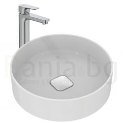 Комплект мивка за баня и смесител IDEAL STANDARD, мивка Strada II 45 cm, за монтаж върху плот, без преливник, кръгла, T295901 и смесител Ceraplan III, стоящ, висок H250 мм, без изпразнител, BC562AA