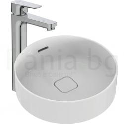 Комплект мивка за баня и смесител IDEAL STANDARD, мивка Strada II 45 cm, за монтаж върху плот, с преливник, кръгла, T296101 и смесител Ceraplan III, стоящ, висок H250 мм, с изпразнител, BC561AA