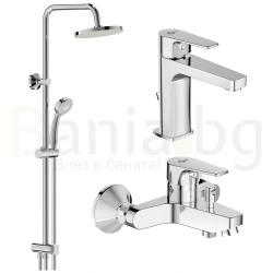 Комплект за баня IDEAL STANDARD ESLA VIDIMA BALANCE , смесители за мивка и вана и душ, с чучур, BC224AA - BC229AA и душ система VidimaBalance, BA274AA