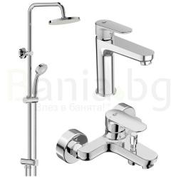 Комплект за баня IDEAL STANDARD TYRIA VIDIMA BALANCE, смесители за мивка и вана и душ, с чучур, BC159AA - BC157AА и душ система VidimaBalance, BA274AA