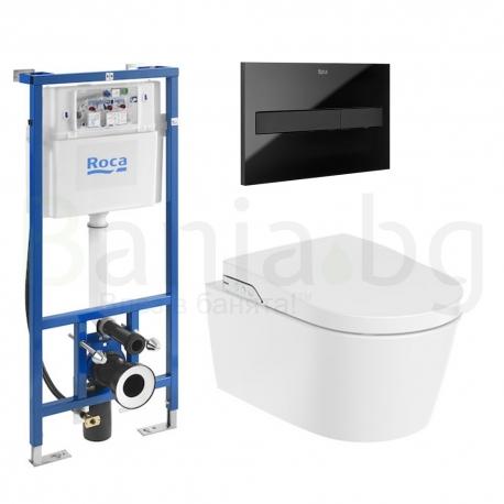 Комплект ROCA Inspira In-Wash, структура за вграждане DUPLO Smart, 890090800 с бутон PL7, черен, 890088308 и стенна Smart Rimles