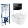 Комплект ROCA Inspira In-Wash, структура за вграждане DUPLO Smart, 890090800 с бутон PL7, черен, 890088308 и стенна Smart Rimless тоалетна чиния, 803060001