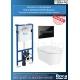 Комплект ROCA Inspira ROUND Rimless, структура за вграждане DUPLO, 890090020 с бутон PL7, черен, 890088308 и стенна Rimless тоалетна чиния, 346527000