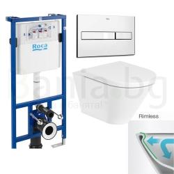 Комплект ROCA THE GAP ROUND Rimless, тоалетна чиния без ринг, със скрито присъединяване, капак със забавено падане, структура ROCA и бутон по избор