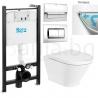 Комплект ROCA THE GAP ROUND Rimless, тоалетна чиния без ринг, със скрито присъединяване, капак със забавено падане, структура ROCA Active и бутон по избор