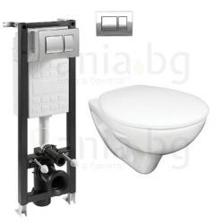 Комплект ROCA FAYANS MIRA, тоалетна чиния с капак, структура за вграждане ECO Compact 35 см.с бутон