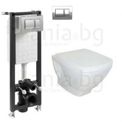Комплект ROCA FAYANS HAPPY SMART, тоалетна чиния с капак, структура за вграждане ECO Compact 35 см.с бутон